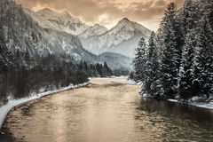 Заход солнца в alps Стоковое Фото