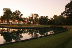 заход солнца гольфа Стоковые Изображения RF