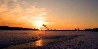 заход солнца города Стоковые Изображения RF