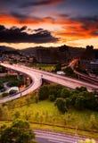 заход солнца городского пейзажа Стоковые Изображения RF