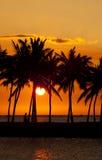 заход солнца залива anaehoomalu Стоковые Фото