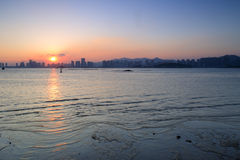 Заход солнца залива Haicang Стоковое Изображение
