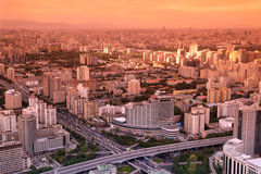 Заход солнца Китай Пекин Стоковое Фото