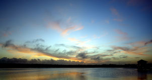 заход солнца лагуны Стоковая Фотография RF
