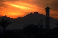заход солнца мечети Стоковая Фотография RF