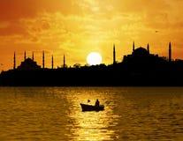 Заход солнца над Стамбулом Стоковая Фотография