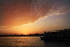 заход солнца Нила Стоковая Фотография RF