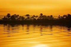 заход солнца Нила Стоковые Фото