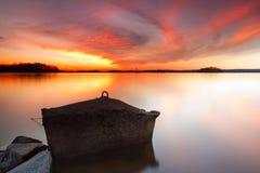 заход солнца озера более lanier Стоковое Изображение RF