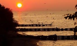 заход солнца озера erie Стоковые Изображения RF