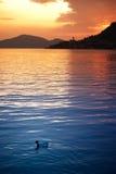 заход солнца озера iseo Стоковые Фото