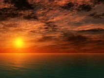 заход солнца океана Стоковые Фотографии RF