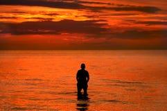 заход солнца пляжа Стоковое Изображение RF
