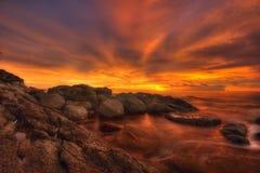 заход солнца пожара Стоковая Фотография