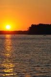 заход солнца реки Миссиссипи Стоковая Фотография