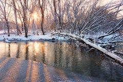 заход солнца реки kishwaukee Стоковые Изображения RF