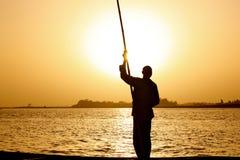 заход солнца рыболова Стоковое фото RF