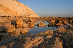 заход солнца скал Стоковое Изображение RF