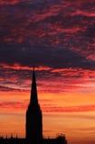 заход солнца собора Стоковые Изображения