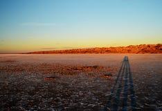 заход солнца соли озера Стоковое фото RF