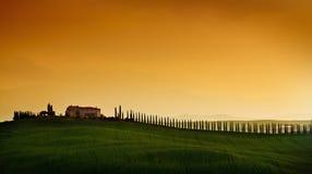 заход солнца Тоскана ландшафта Стоковая Фотография RF