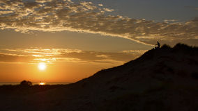 заход солнца туристов Стоковое фото RF