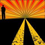 заход солнца хайвея Стоковые Изображения RF