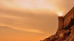 заход солнца Хорватии dubrovnik Стоковое Изображение RF
