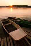 заход солнца шлюпок Стоковое фото RF