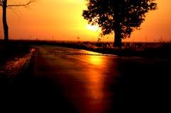 заход солнца дороги Стоковые Фото