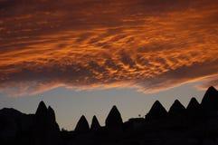 заход солнца cappadocia Стоковое Фото