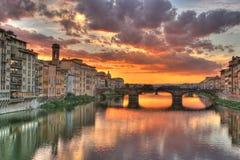 заход солнца florence Италии Стоковая Фотография