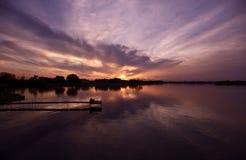 заход солнца illinois Стоковая Фотография