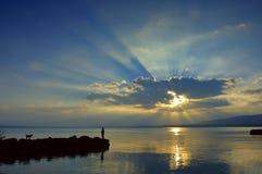 заход солнца lac leman излишек Стоковая Фотография RF