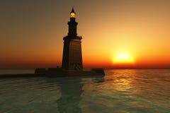 заход солнца pharos маяка Стоковые Фото