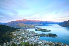 Заход солнца Queenstown Новой Зеландии Стоковое Фото