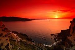 заход солнца santorini Стоковые Изображения