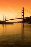 заход солнца sf строба моста золотистый Стоковые Изображения