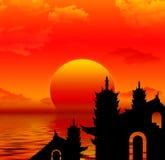 заход солнца silhoutte pagoda Стоковая Фотография RF