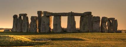 заход солнца stonehenge панорамы Стоковое Изображение RF