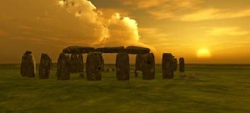 заход солнца stonehenge Стоковое Фото