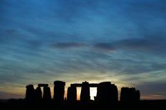 заход солнца stonehenge Стоковое Изображение