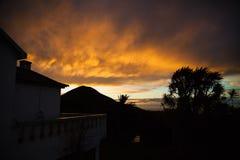 Заход солнца Азорских островов Стоковые Фото