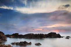 Заход солнца ландшафта Стоковое Изображение RF