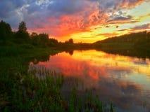 Заход солнца ландшафта Стоковые Фотографии RF