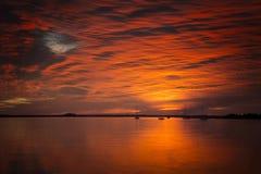 Заход солнца апельсина Amelia Island Стоковые Изображения RF