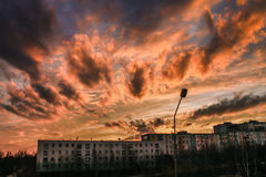 Заход солнца, апельсин, небо, облака Стоковые Фото