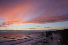 заход солнца 12 апостолов Стоковое фото RF