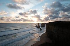 заход солнца 12 апостолов Стоковые Изображения RF