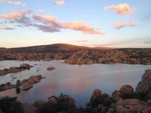 Заход солнца Аризоны Prescott озера Уотсон Стоковые Фотографии RF
